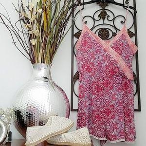 NEW Rewind Pink Paisley Lace Trim Romper Size XL